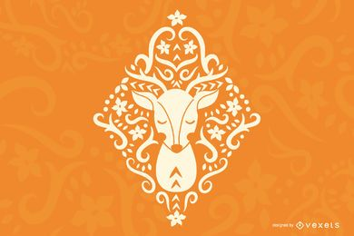 Folk Art Deer Silhouette Design