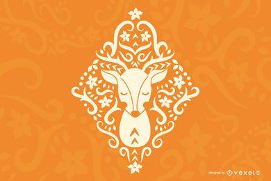 Projeto da silhueta dos cervos da arte popular