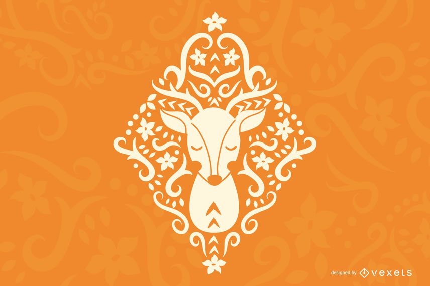 Diseño de silueta de ciervo de arte popular