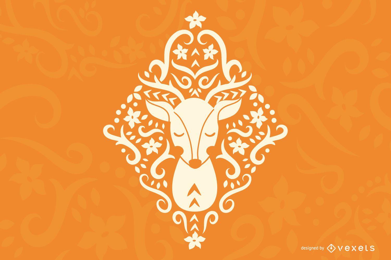 Folk Art Deer Silhouette Design