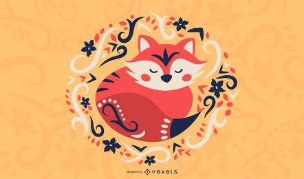 Scandinavian folk art fox illustration