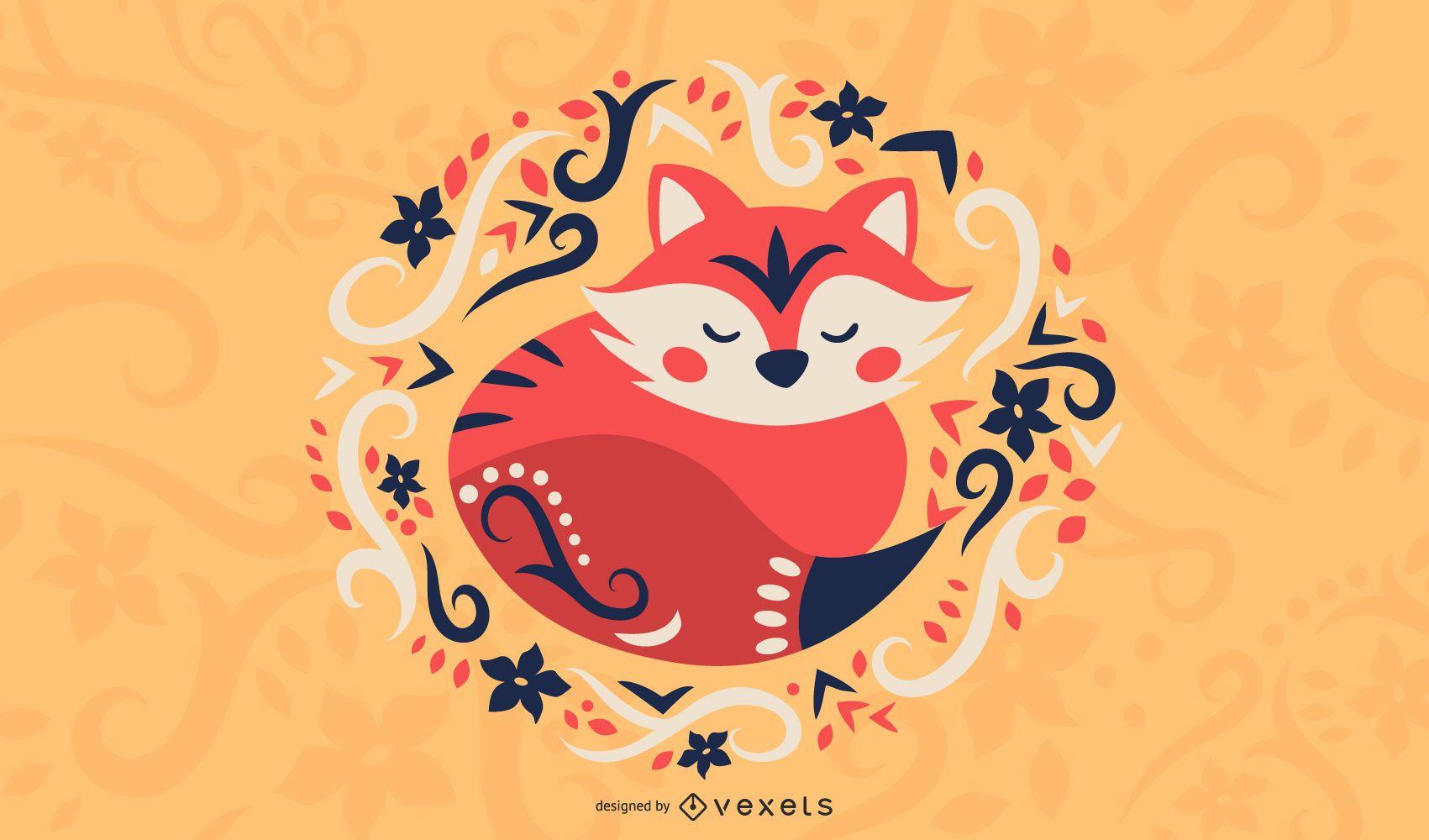 Scandinavian folk art fox illustration