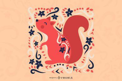 Ilustración de ardilla de arte popular escandinavo