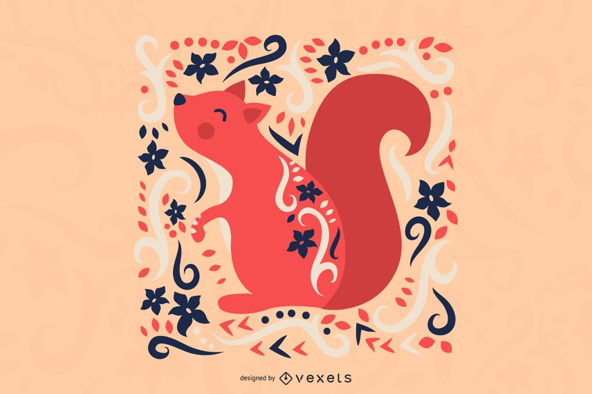 Scandinavian folk art squirrel illustration