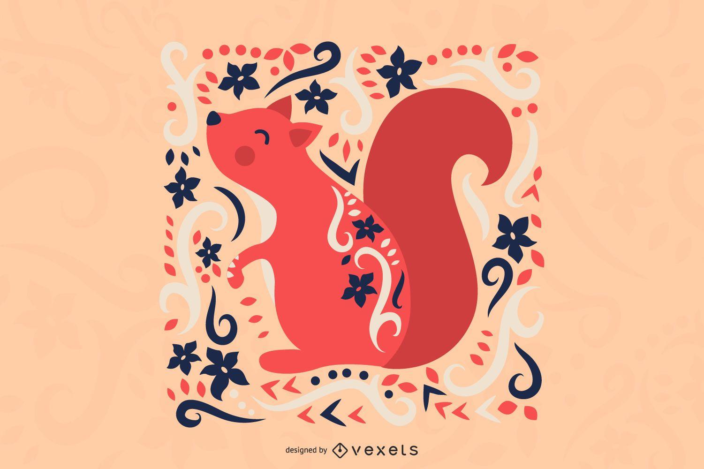 Scandinavian folk art squirrel illustration