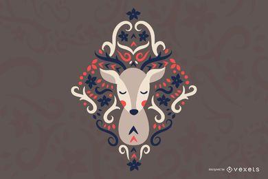 Ilustração escandinava de veado de arte folclórica