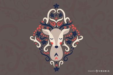Scandinavian folk art deer illustration