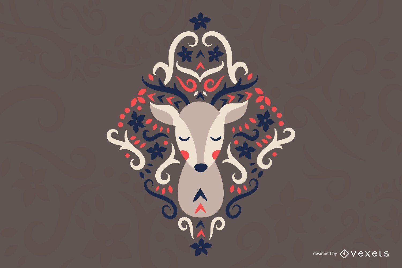 Scandinavian folk art deer illustration