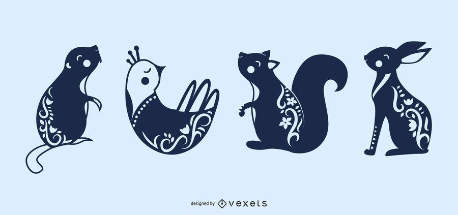 Silhuetas de animais escandinavos arte folclórica