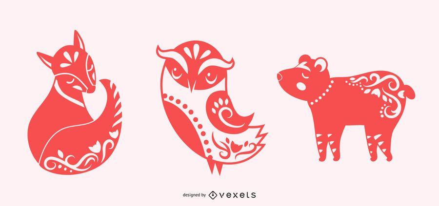 Conjunto de silhueta de animais de arte popular