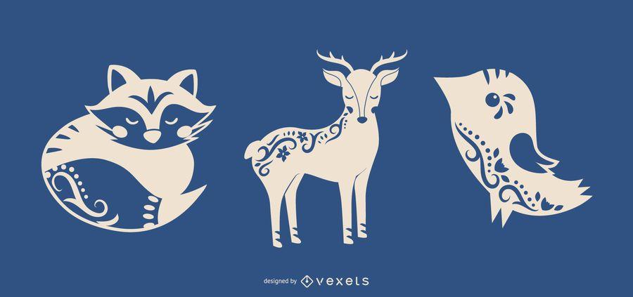 Arte folclórica silhueta animais