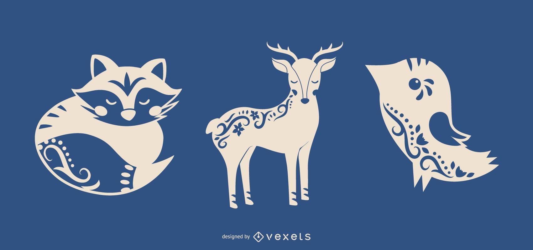 Folk art silhouette animals