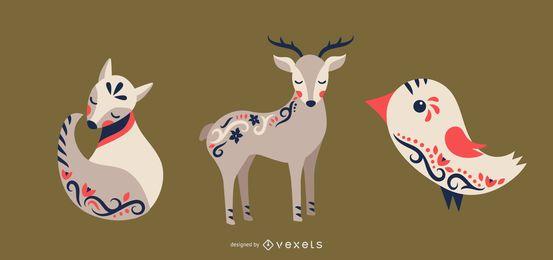 Conjunto de vetores de animais de arte popular