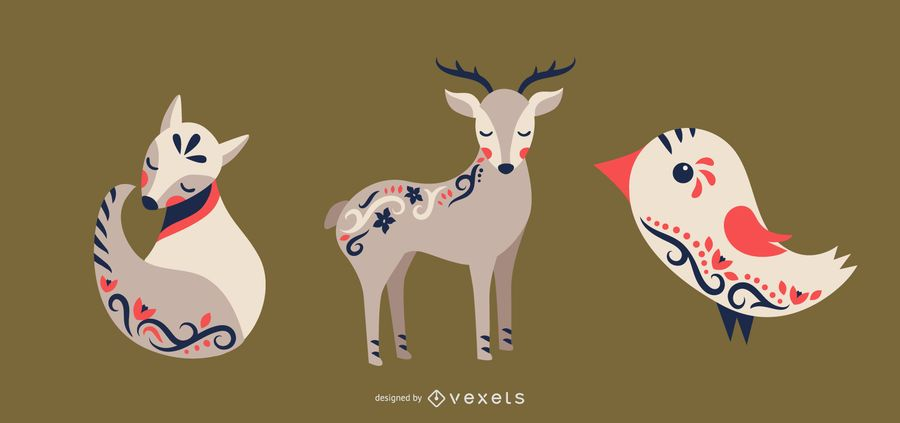 Folk art animals vector set