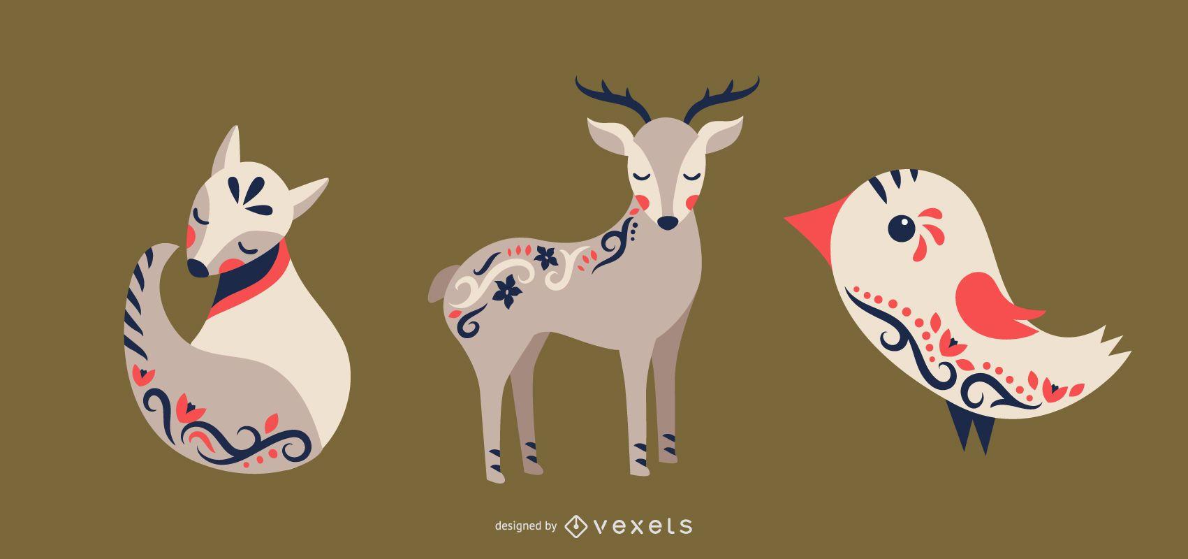 Folk art animals vector set