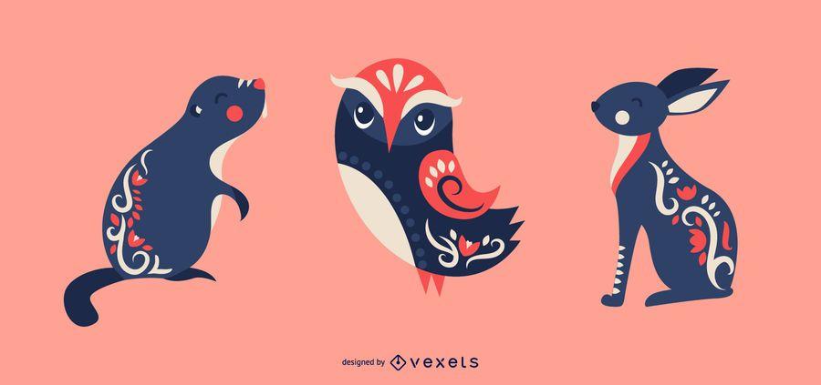 Conjunto de vetores de animais escandinavos