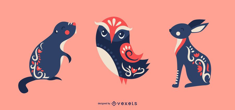 Scandinavian animals vector set