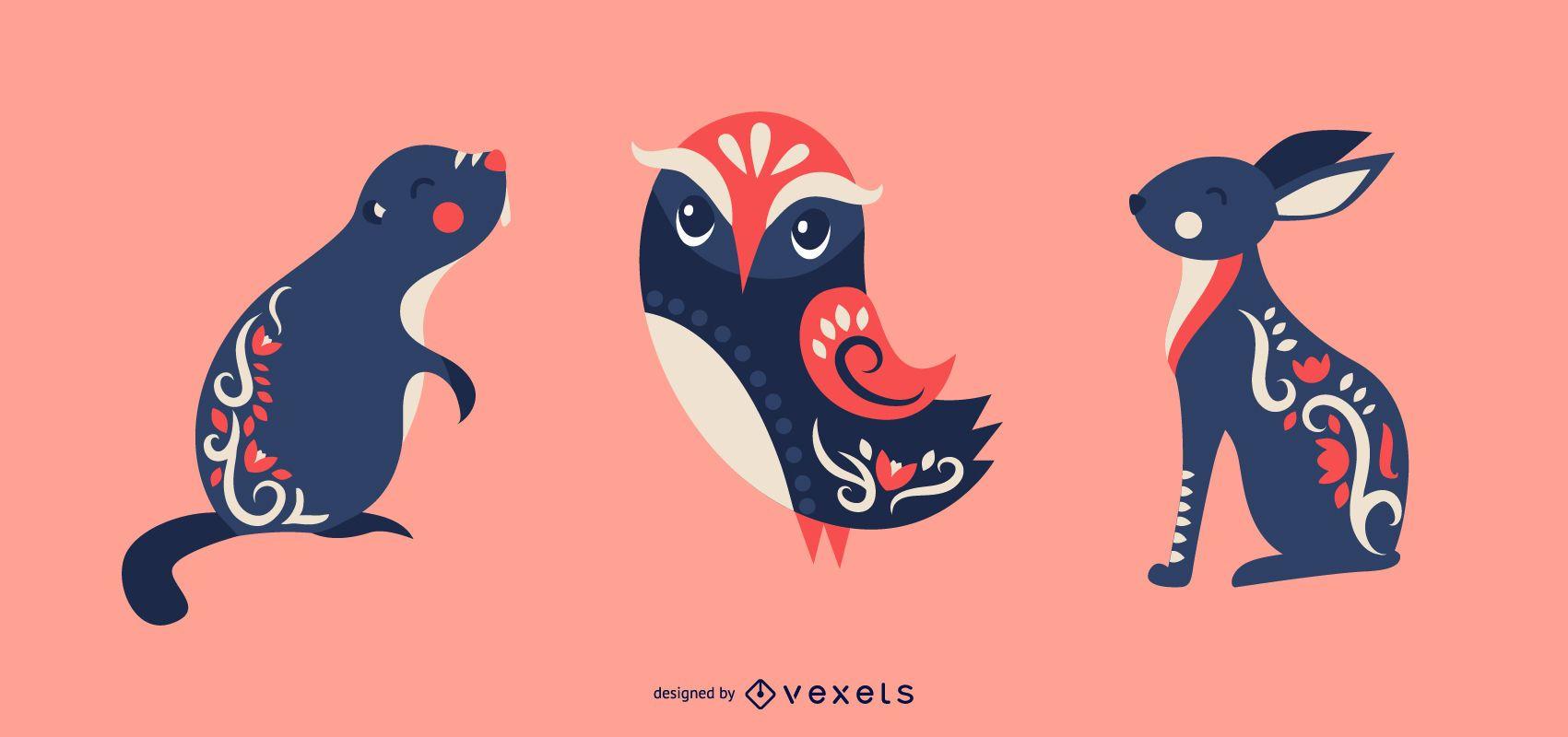 Scandinavian animals vector set