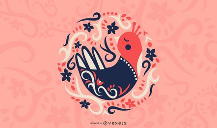 Scandinavian folk art bird illustration
