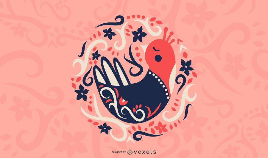 Ilustração de pássaro escandinavo de arte folclórica