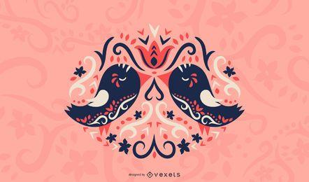 Ilustración de amor de aves escandinavas