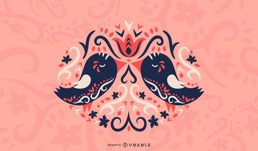 Skandinavische Vögel lieben Illustration