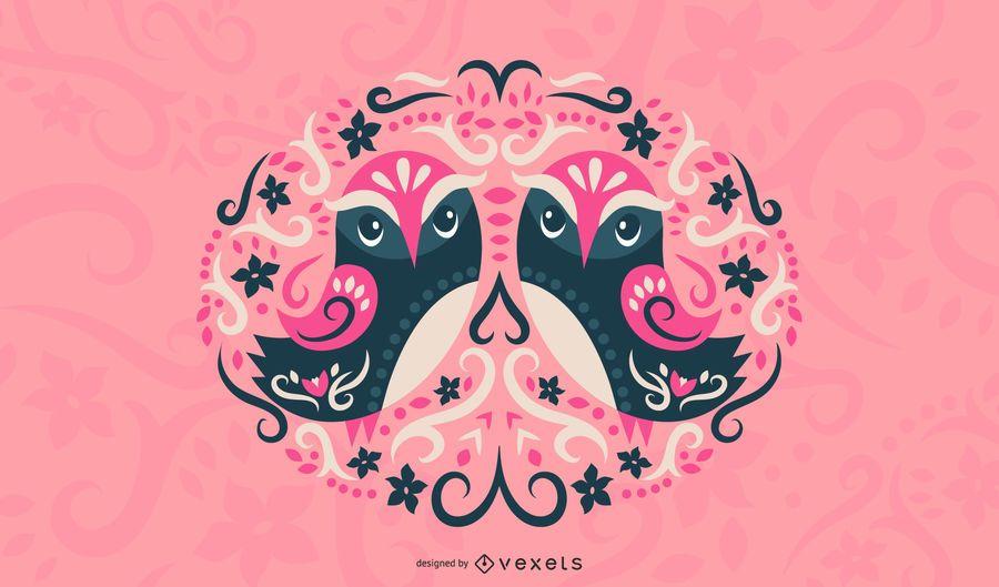 Ilustración de búhos escandinavos