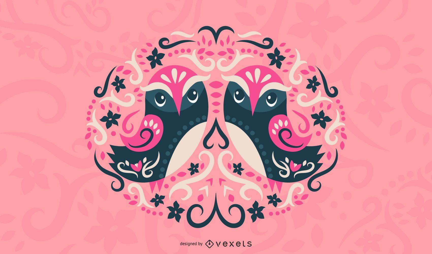 Scandinavian owls illustration