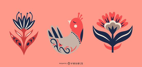 Conjunto de pássaros e flores de arte popular