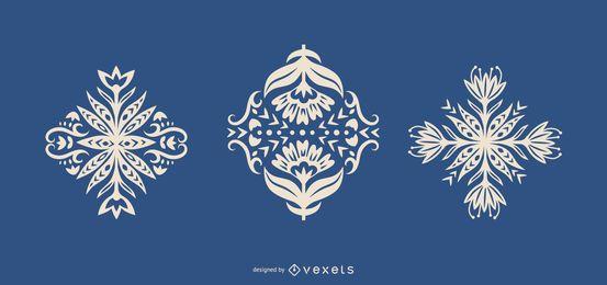 Folk art flowers silhouettes