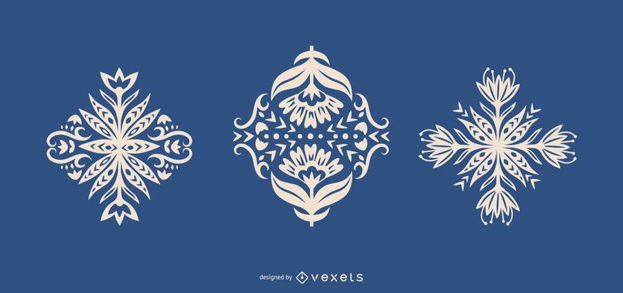 Silhuetas de flores de arte popular