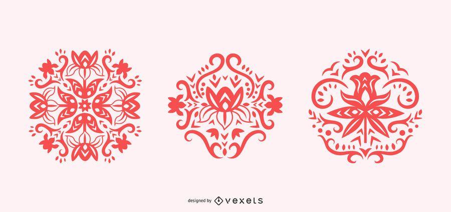 Siluetas de remolino de flores escandinavas