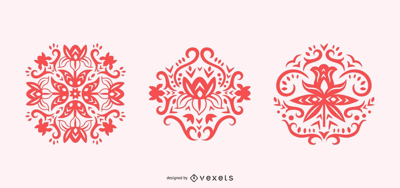 Scandinavian flower swirl silhouettes