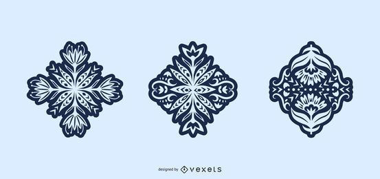Blumenvolkskunst-Schattenbildsatz