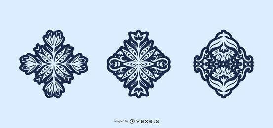 Conjunto de silhueta de arte folclórica de flores
