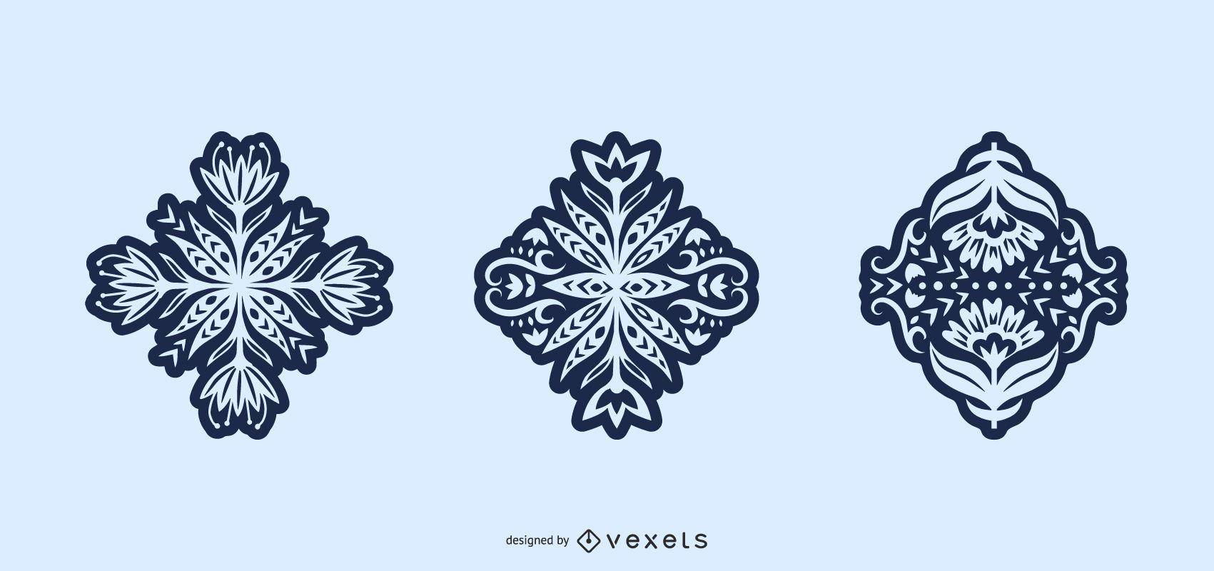 Flowers folk art silhouette set