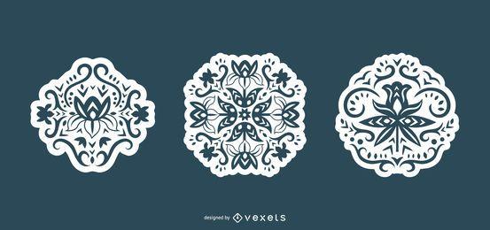 Conjunto de silhueta escandinava de flores de redemoinho