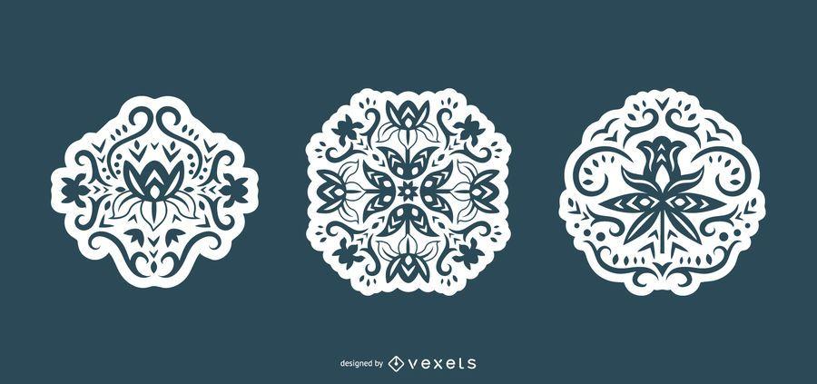 Conjunto de silueta escandinava remolino flores