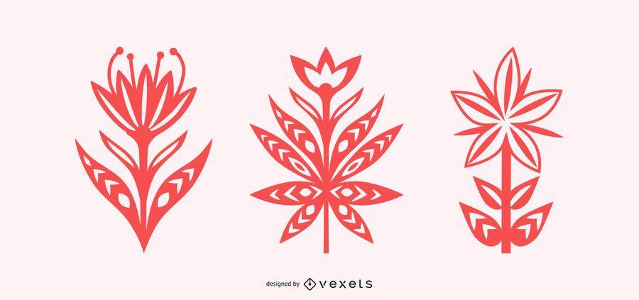 Scandinavian flowers silhouettes