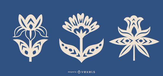Conjunto de arte folclórica de silhuetas de flores