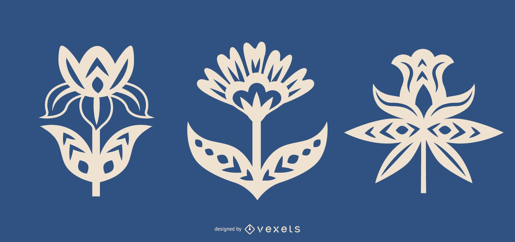 Flower silhouettes folk art set