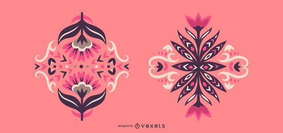Conjunto de diseño floral escandinavo