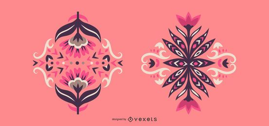 Skandinavisches Blumenmuster-Set