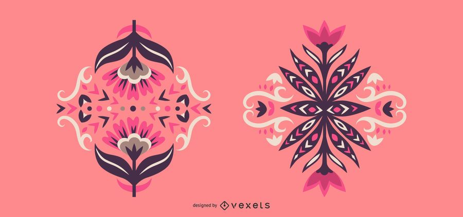Conjunto de design floral escandinavo