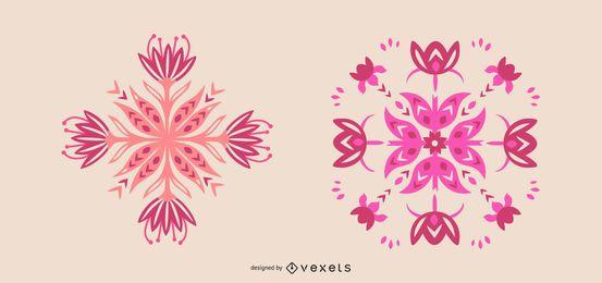 Conjunto de flores rosadas escandinavas