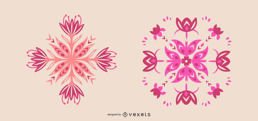 Scandinavian pink flowers set