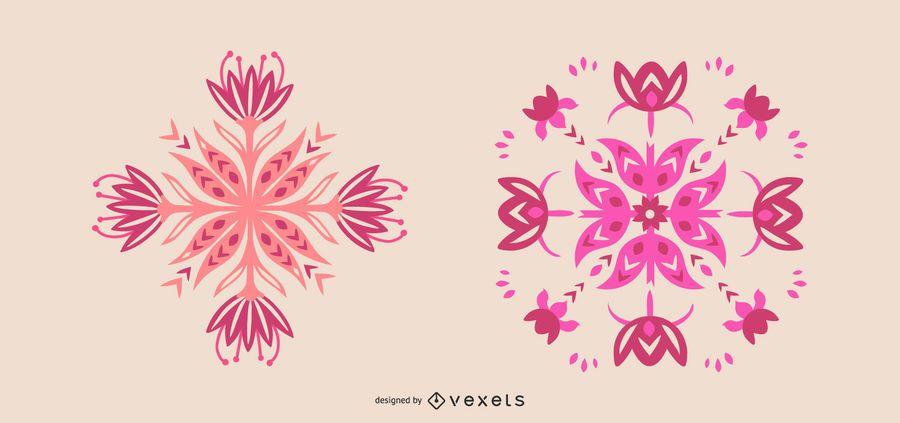 Skandinavische rosa Blumen gesetzt