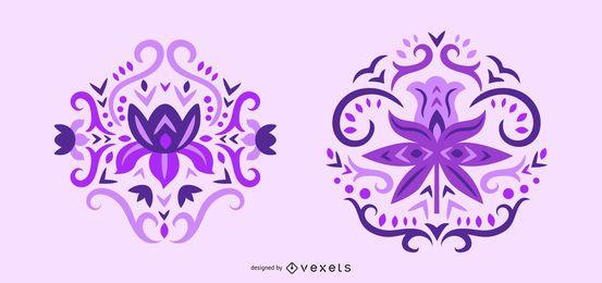 Conjunto de remolinos de flores púrpuras escandinavas
