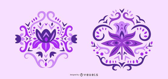 Scandinavian purple flowers swirl set