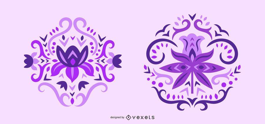 Scandinavian purple flowers swirl set